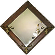 Antique Solid Tiger Oak Bevel Wall Mirror, Hat Hooks