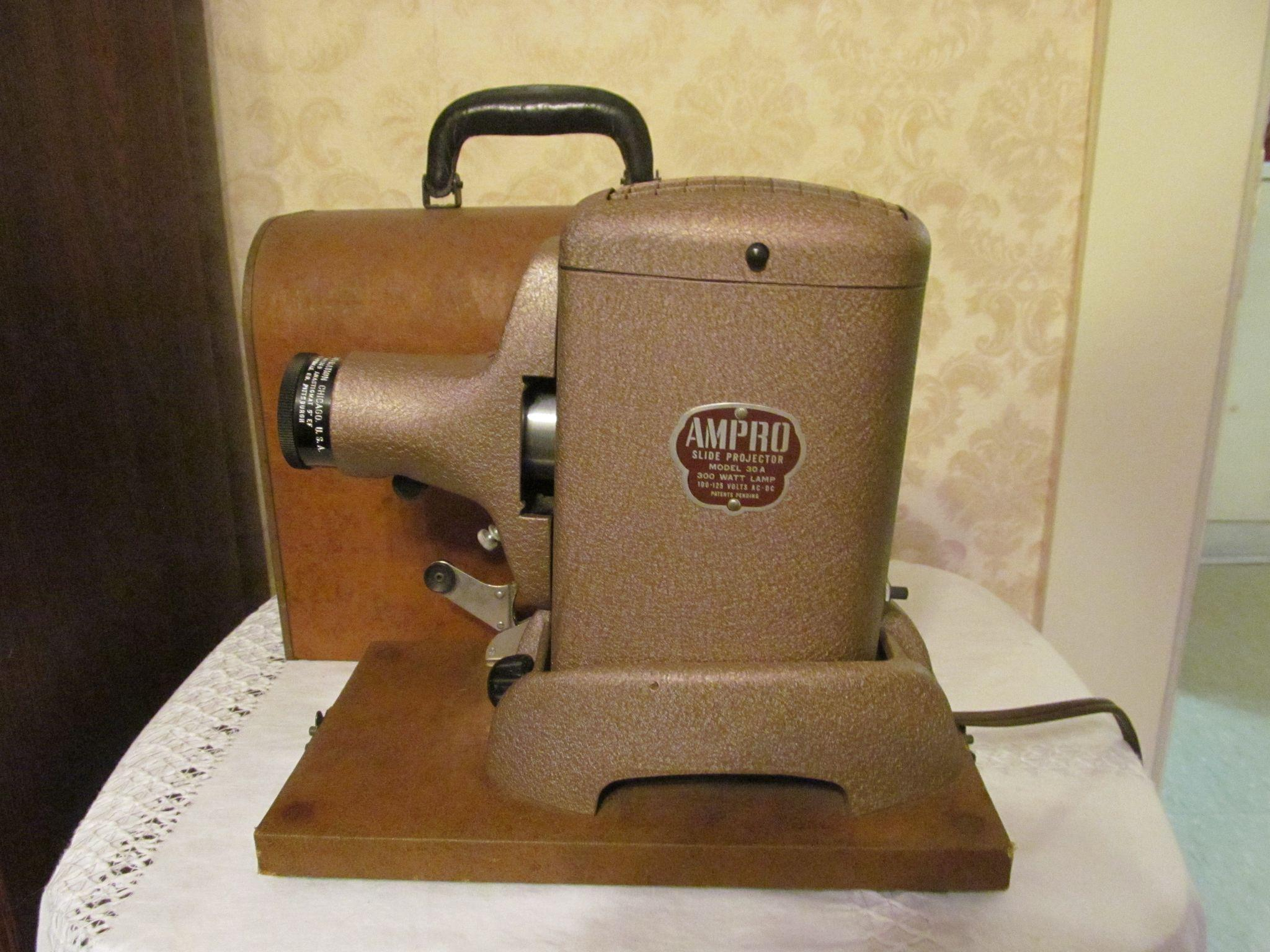 Ampro Slide Projector, Model 30A with Case by the Ampro Corporation, Works