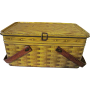 Metal Tin Basketweave Picnic Basket, Wood Handles