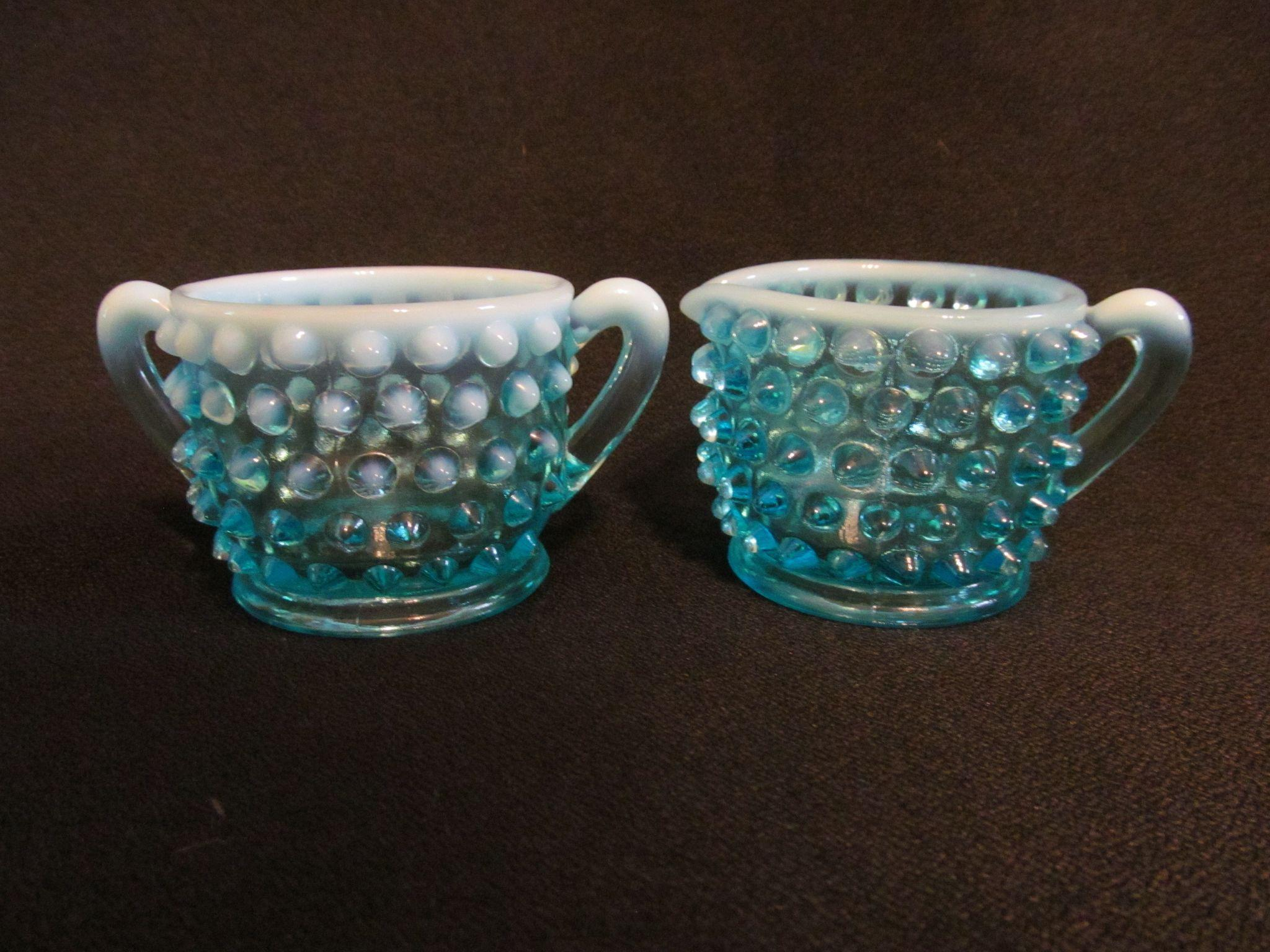 Fenton Blue Opalescent Hobnail Creamer & Sugar