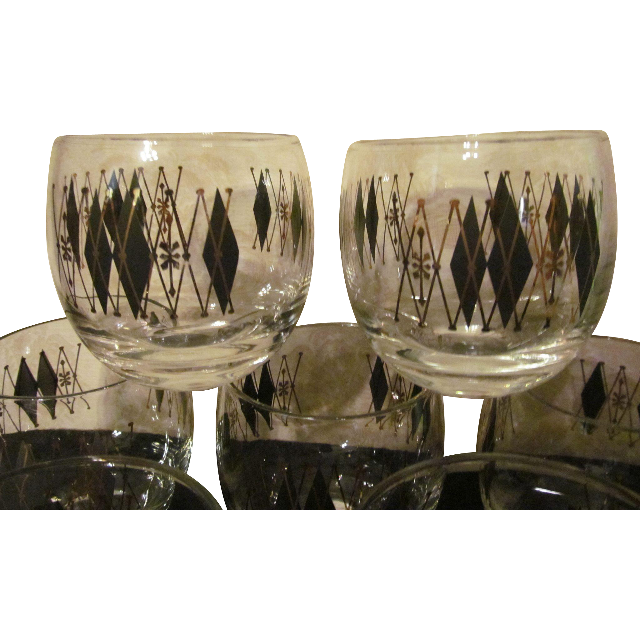 8 roly poly mid century barware glasses sold on ruby lane