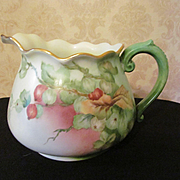 Limoges France Jean Pouyal JP L Hand Painted Signed Cider Lemonade Jug