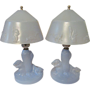Blue Depression Era Squirrel Vanity Lamps, Rewired
