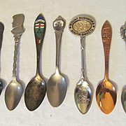 Seven Souvenir Spoons of States, President, Sterling Ontario Canada, Park and City,