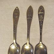 Three Souvenir Spoons, Two Sterling