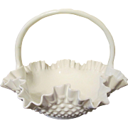 "Fenton 12"" Milk Glass Hobnail Basket"