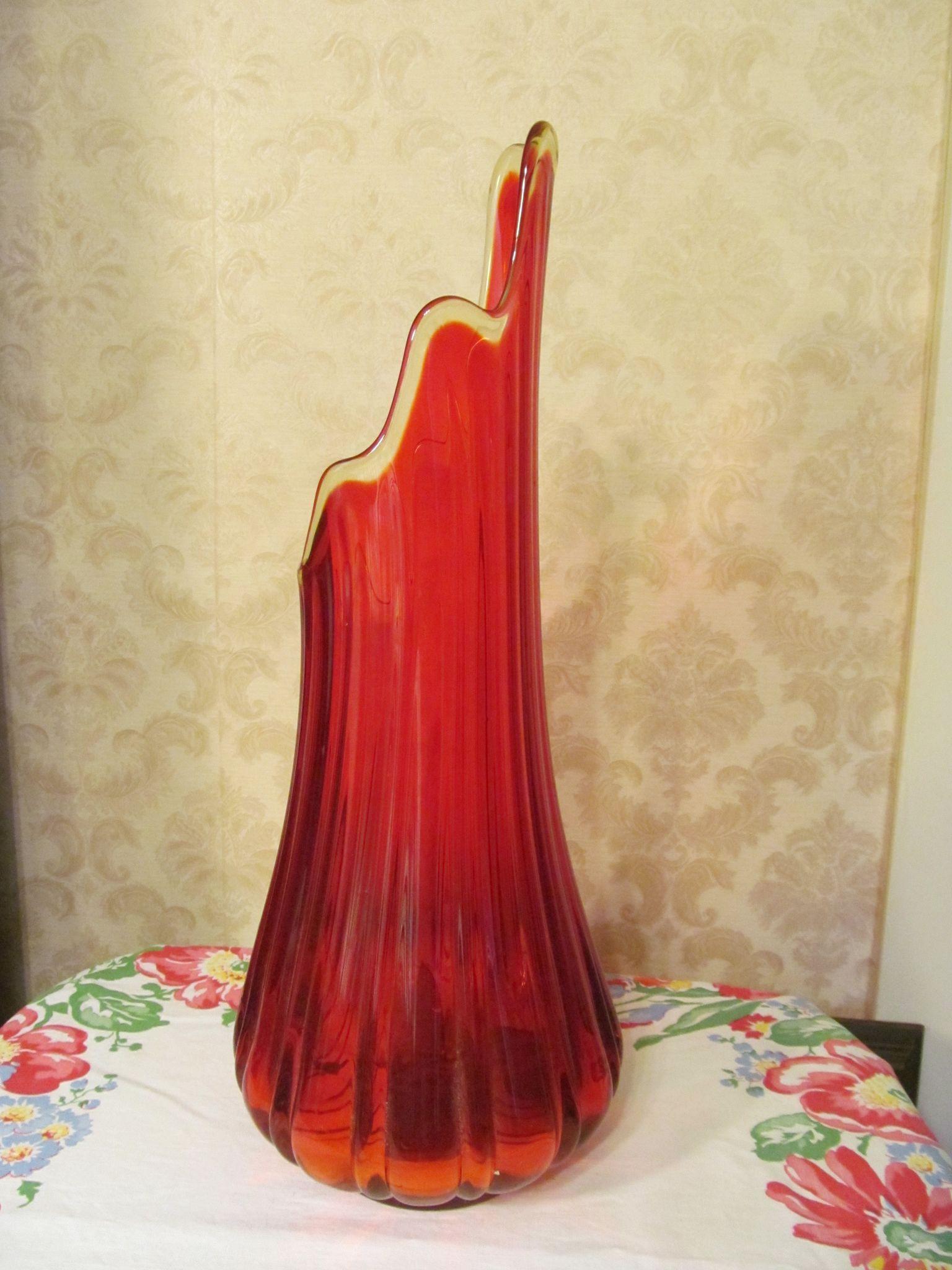 """Deep Orange Mid Century 17 3/4"""" Floor Vase"""