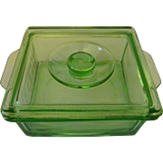 Hazel Atlas Green Depression Stackable Refrigerator Dish