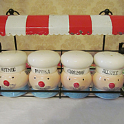 Chef Spice Set with Red & White Canopy Metal Rack