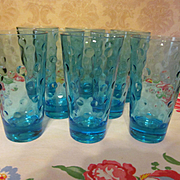 8 Capri Azure Blue Dot Water Barware Tumblers, Hazel Atlas