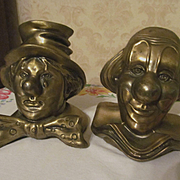 PM Craftsman Brass Clown Bust Book Ends
