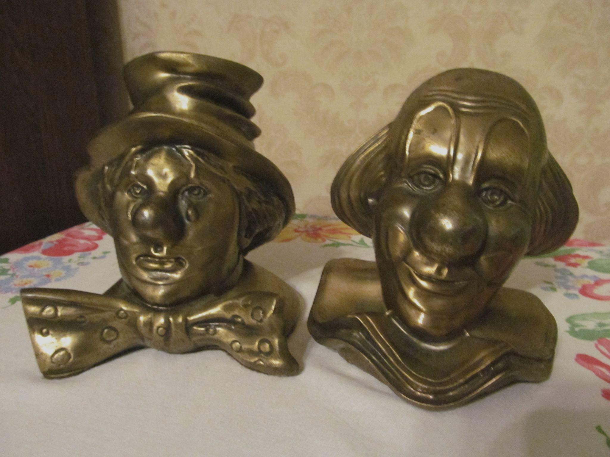 PM Craftsman Brass Clown Bust Book Ends