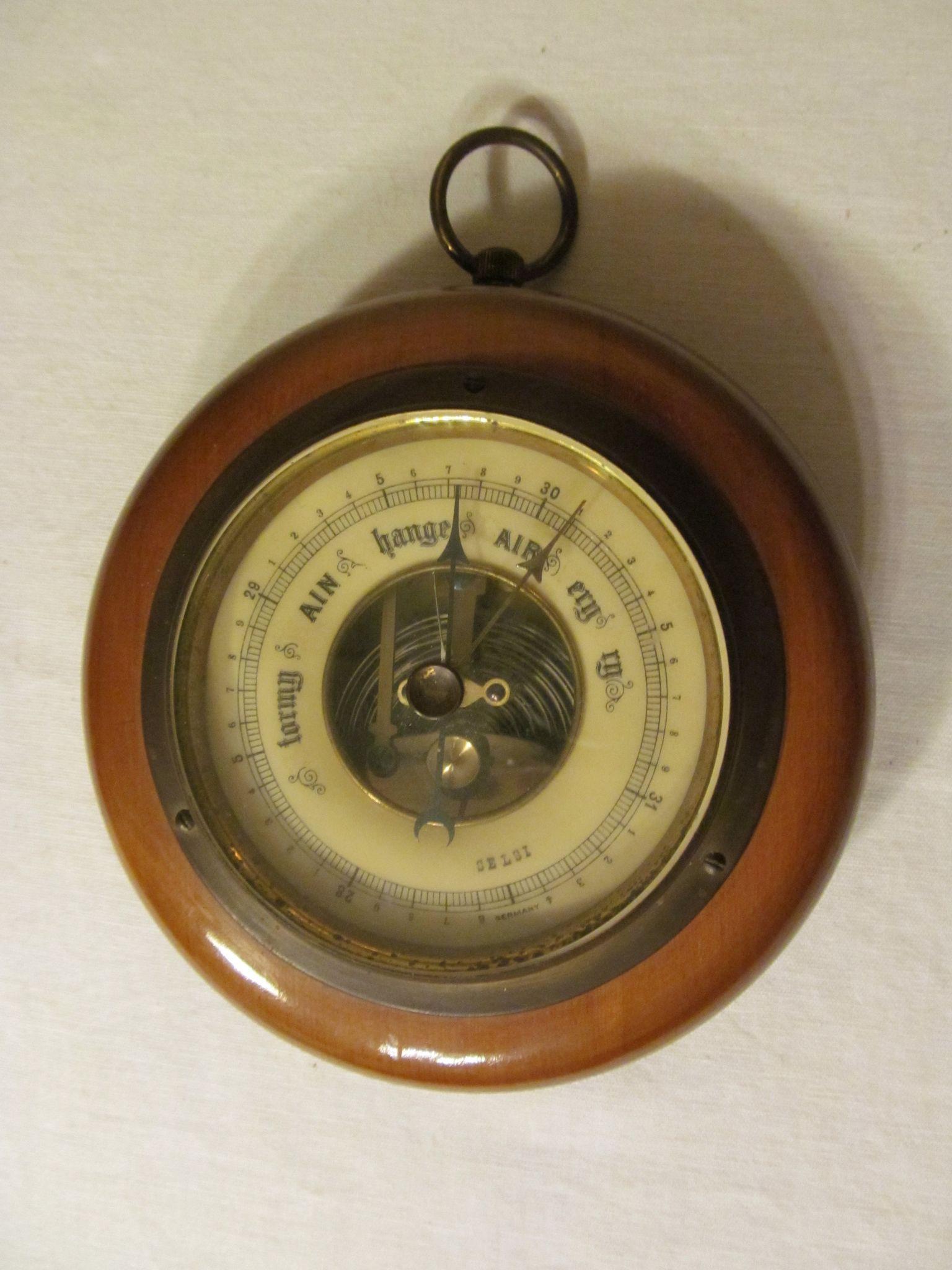 Germany Brass Wood Wall Barometer