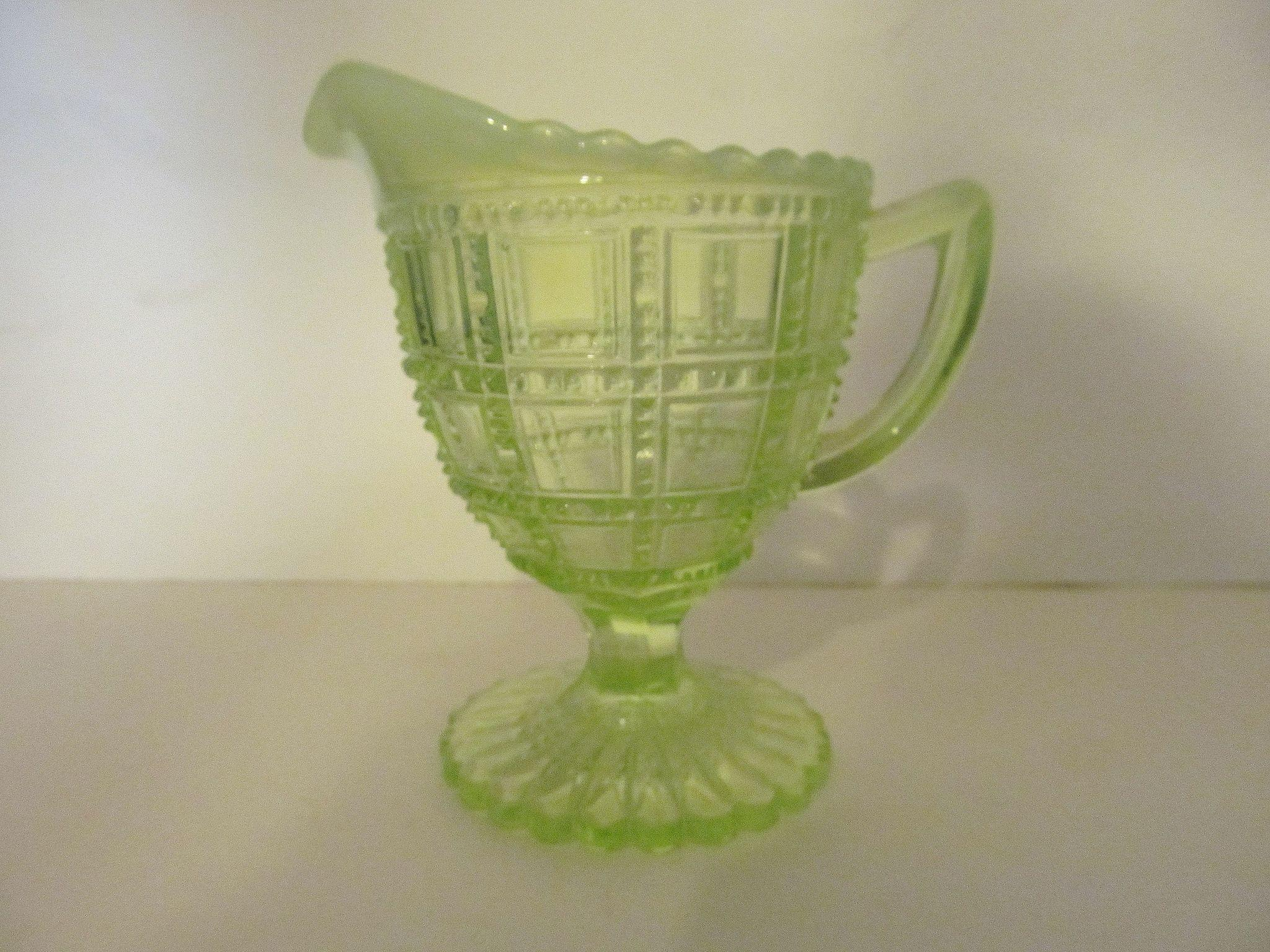 Imperial Vaseline Opalescent Beaded Block Creamer