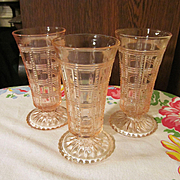 3 Pink Imperial Beaded Block Vases