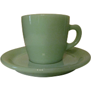 Fire King Jadite Restaurant Coffee Cup and Saucer, Anchor Hocking