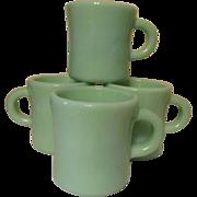 4 Fire King Jadite C Handle Restaurant Coffee Mugs, Anchor Hocking