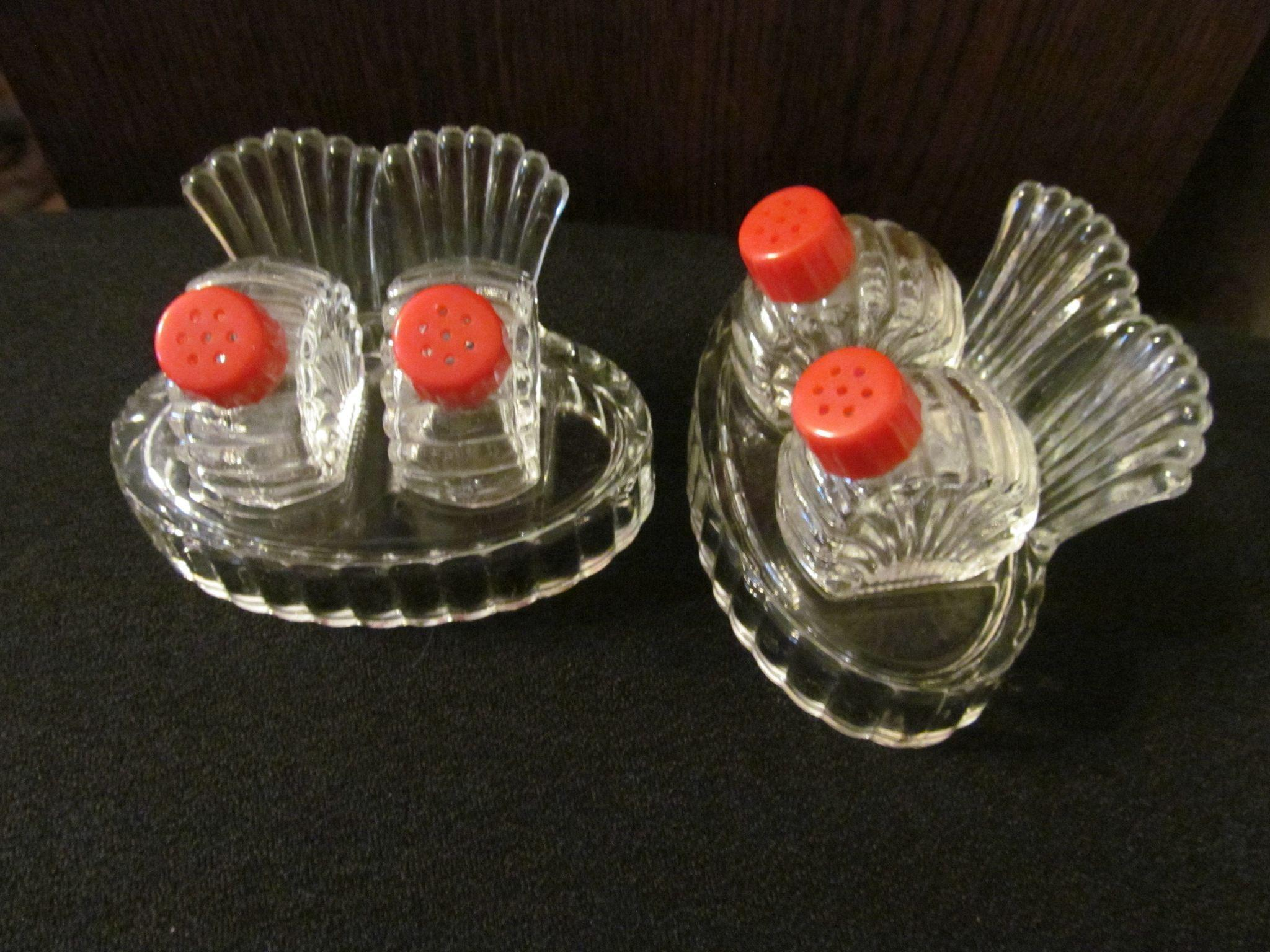 Pair Glass Salt Pepper Shaker Sets with Card Holder Trays, Red Bakelite Tops