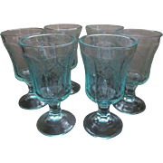 Madrid Recollections Teal Footed Water Goblets by Indiana Glass Company