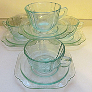 Madrid Recollections Teal Cups & Saucers by Indiana Glass Company
