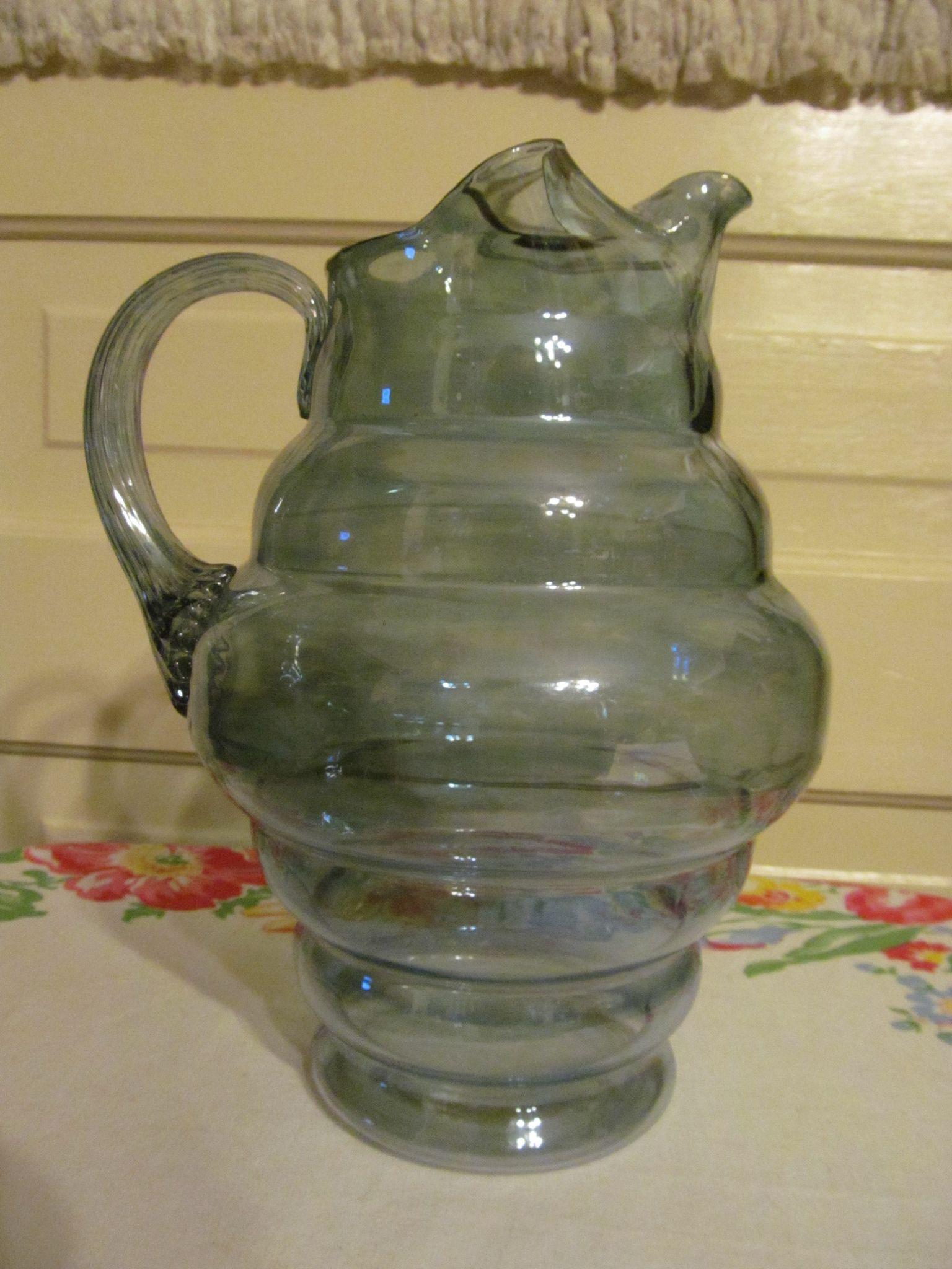 Dunbar Flint Glass Company Blue Pitcher