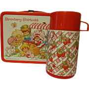 1981 Strawberry Shortcake Metal Lunch Box and Thermos, American Greetings, by Aladdin