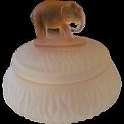 Pink Frosted Elephant Powder Box Jar, Depression Era