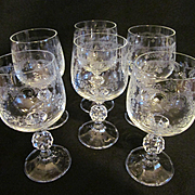 Bohemian Czech Etched Goblets, Cascade Pattern