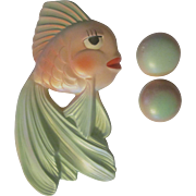 Miller Studio Chalkware Goldfish Fish with Bubbles Wall Plaques