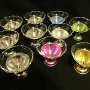 10 Mid Century Dessert Dishes with Glass Bowls, Chrome & Multi Colored Metal Bases
