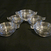 5 Manhattan Depression Era Handled Bowls, Anchor Hocking