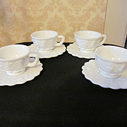 Westmoreland 8pc Paneled Grape Cup & Saucer Sets + Another 8pc Set Available