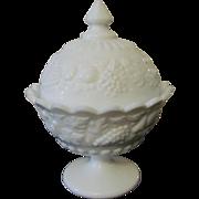 Westmoreland Della Robbia Milk Glass Candy Dish