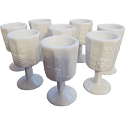Eight Westmoreland Paneled Grape Wine/Cordial Goblets