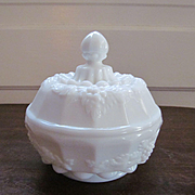 Westmoreland Paneled Grape Vanity Powder Puff Box Jar