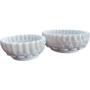 Pair Westmoreland Paneled Grape Crimped Bowls