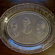 EAPG Adams and Company Commemorative In Remembrance of Three Presidents Bread Plate Platter