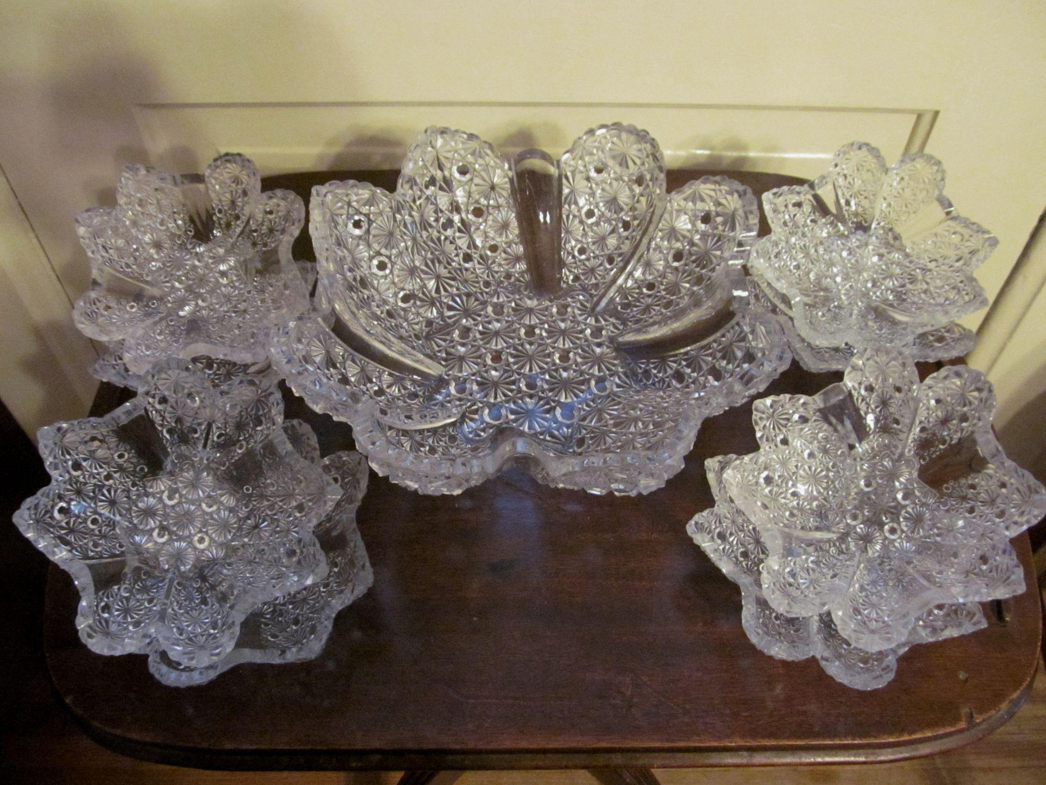 EAPG Paneled Daisy and Button Berry Bowl Set