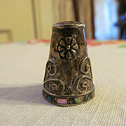 Mexico Thimble with Flowers, Marked