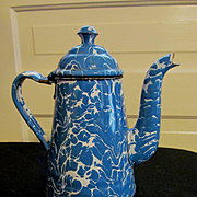 Blue and White Swirl Coffee Pot, Hinged Lid