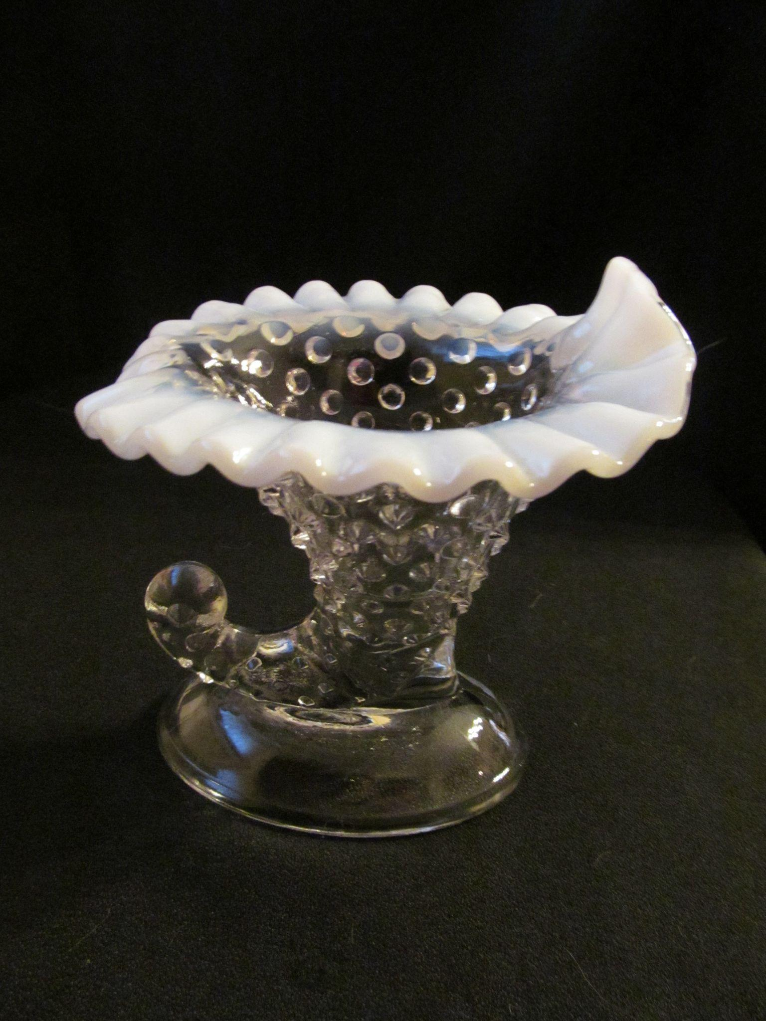 Fenton French Opalescent Hobnail Cornucopia Candle Holder