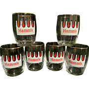 Six Hamm's Beer Barrel Glasses with Red Trees, From the Land of Sky Blue Waters