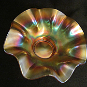 Marigold Carnival Glass Ruffled Bowl