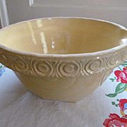Yellow Ware Batter Mixing Bowl with Circle Ring Pattern