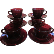 Hocking Ruby Red Cups and Saucers