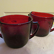 Hocking Ruby Red Creamer and Sugar Set