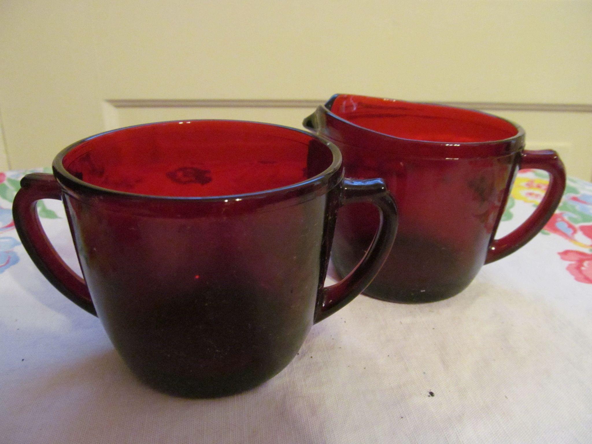Hocking Ruby Red Creamer and Sugar Set