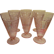 Six Pink Depression Sharon Cabbage Rose Tea Tumblers by Federal Glass Company