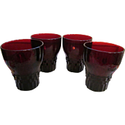 "Four Ruby Red Hocking Windsor 4"" Tumblers + Another Set of 4"
