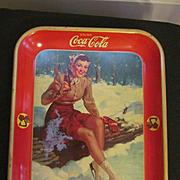 1941 Coca Cola Tray, Girl on Ice Skates, American Art Works